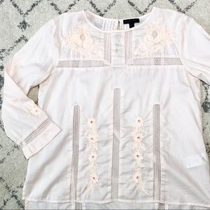 J Crew Tunic Blouse size 2 light Pink Embroidered